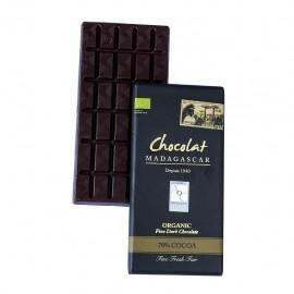 Tablette de chocolat noir 70%, certifiées BIO